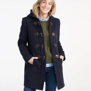 L. L. Bean Classic Lambswool Duffel Coat in Navy